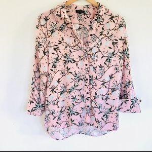 TOPSHOP pink floral button down shirt, sz 4